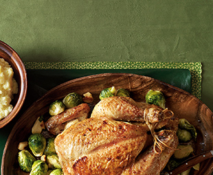 Apple-Cider-Glazed Roasted Chicken, Brussels Sprouts & Garlic