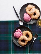 Apple Fritters with Cranberry Gelato