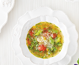 Yellow Pepper Minestrone with White Beans & Asparagus