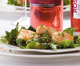 Seared Scallops on Greens with Sweet-and-Sour Chili Dressing