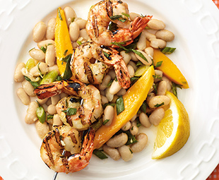 Grilled Lemon Tarragon Shrimp & Cannellini Bean Salad