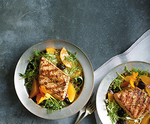 Grilled Salmon on Golden Beet & Frisée Salad