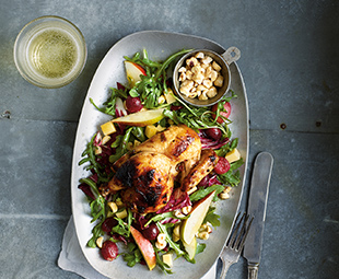 Grilled Cornish Hen, Roasted Grape & Arugula Salad