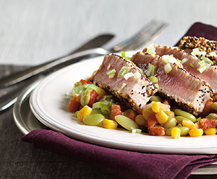 Seed-Crusted Tuna with Lima Beans, Corn & Pancetta