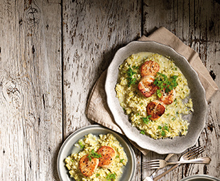 Cauliflower Risotto with Scallops
