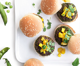 Pea Falafel Sliders with Curried Mango Chutney