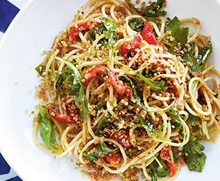 Spaghetti with Roasted Red Peppers, Arugula & Crispy Quinoa