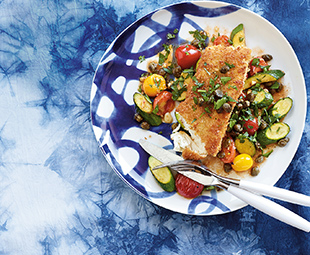 Crispy Halibut with Zucchini Sauté & Fried Capers