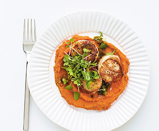 Pan-Seared Scallops with Vermouth-Poached Creamy Heirloom Carrot Purée & Microgreens