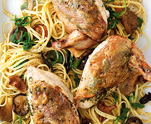 Herb-Roasted Chicken with Woodland Mushroom Linguine
