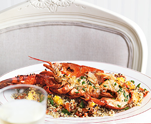 Grilled Buttery Lobster on Quinoa with Peaches & Peppers