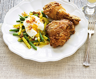 Buttermilk Chicken and Tarragon Bean Salad with Egg