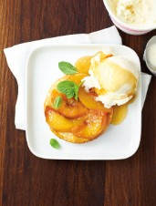 Peach Tart Tatin with Ice Cider Syrup