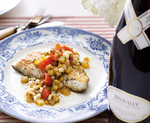 Mediterranean Sea Bass with Squid Ratatouille