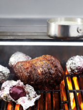 Grilled Beets & Peppercorn-Beef Roast with Gorgonzola Sauce