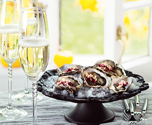 Oysters with Grated Horseradish & Pickled Beet