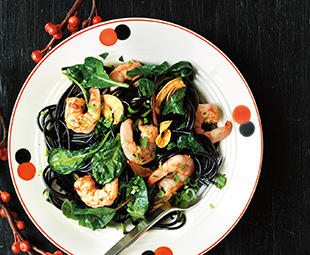 Black Pasta with Spicy Southern Shrimp & Greens