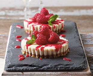 """Cheesecake"" with Raspberry Sauce"
