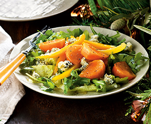 Persimmon & Blue Cheese Salad with Meyer Lemon Dressing