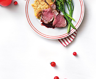 Mustard & Rosemary Lamb Chops with Red Wine Drizzle