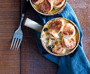 Four-Cheese Chicken, Kale & Sweet Potato Cobblers