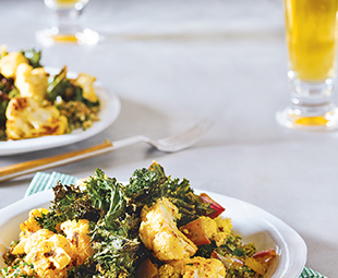 Curry-Roasted Cauliflower, Kale & Bulgur Salad