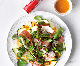 Zucchini Ribbons with Prosciutto, Parmesan & Pistachios