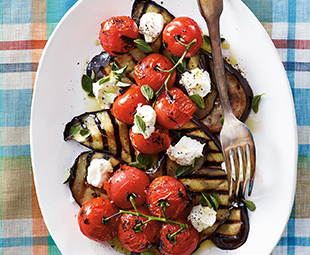 Grilled Eggplant & Tomatoes with Homemade Labneh