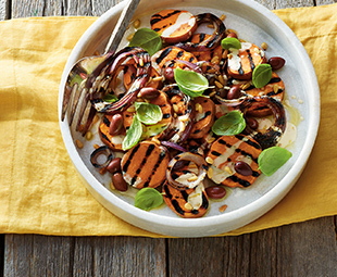 Grilled Sweet Potatoes & Red Onion with Tahini Dressing