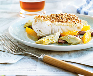 Coriander-Almond-Crusted Halibut with Orange, Artichoke & Olive Salad