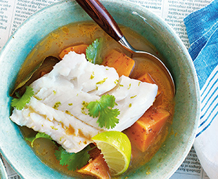 Cod In Coconut Broth with Kaffir Lime Leaves