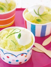 "Honeydew Melon & Lime ""Snow Cone"" with Mint Cream"