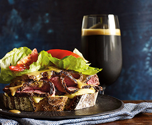 Roasted Beef with Ale Cheddar Sauce