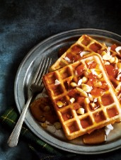 Maple Syrup, Macadamia Nut & Apricot-Topped Waffles
