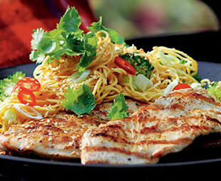 Five-Spice Turkey Cutlets with Sichuan Noodle Salad