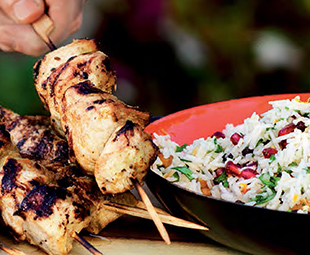 Saffron Turkey Kebabs with Jewelled Rice Salad