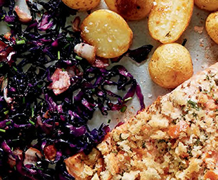 Mustard-Crumbed Salmon with Sweet & Sour Cabbage & Roast Potatoes