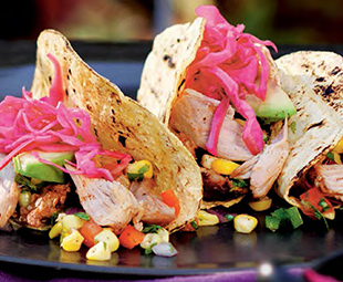 Turkey Tacos with Corn Salsa and Pickled Red Cabbage