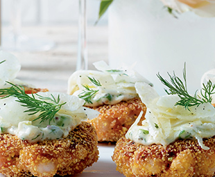 Shrimp Cakes with Dill Remoulade & Fennel Slaw