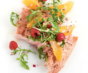 Roasted Salmon with Orange, Raspberry & Arugula Salsa