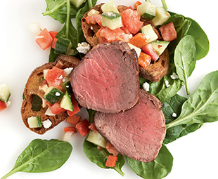Seared Beef & Spinach Panzanella Salad with Feta Dressing