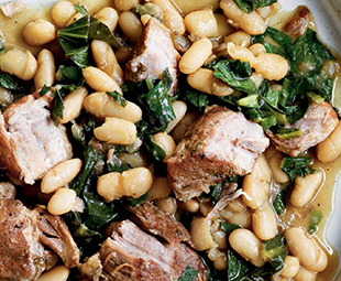 Italian Cannellini Beans with Braised Pork Shoulder & Bitter Greens