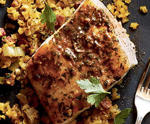 "Halibut with Spanish Overtones & Saffron ""Paella"""