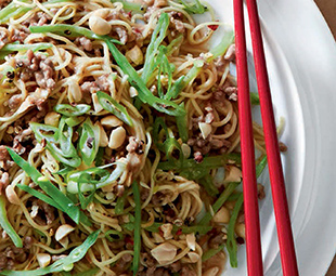 Chow Mein Noodles with Ground Pork & Peanuts