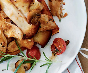 Rosemary Chicken & Mushroom Sauté with Crispy Polenta