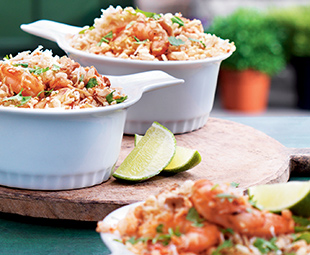 Piri Piri Shrimp with Coconut-Cashew Crisp