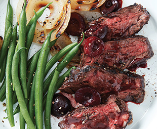 Hanger Steak with Grilled Onions & Sweet and Sour Cherries