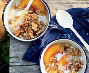 Butter-Baked Peaches with Vanilla Almond Crumble
