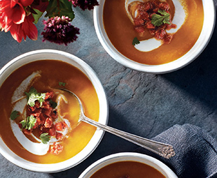 Moroccan Carrot Soup with Harissa Relish and Yogurt