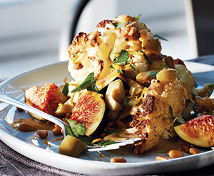 Roasted Cauliflower Wedges with Figs, Olives and Pine Nuts